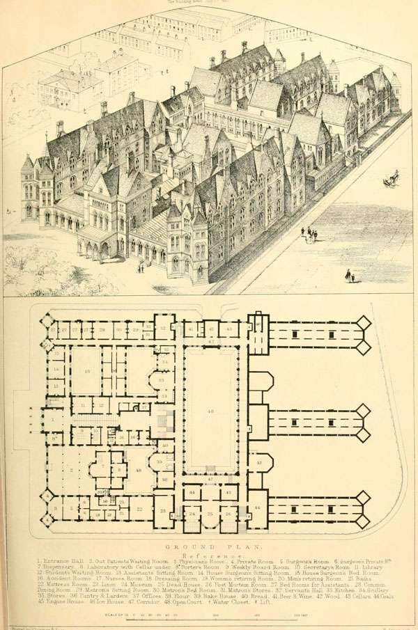 1863 &#8211; Design for new Infirmary, Leeds, Yorkshire