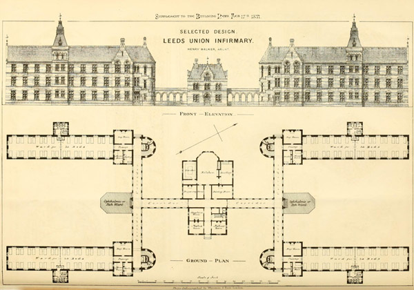 1871 – Selected design for Leeds Infirmary, Yorkshire
