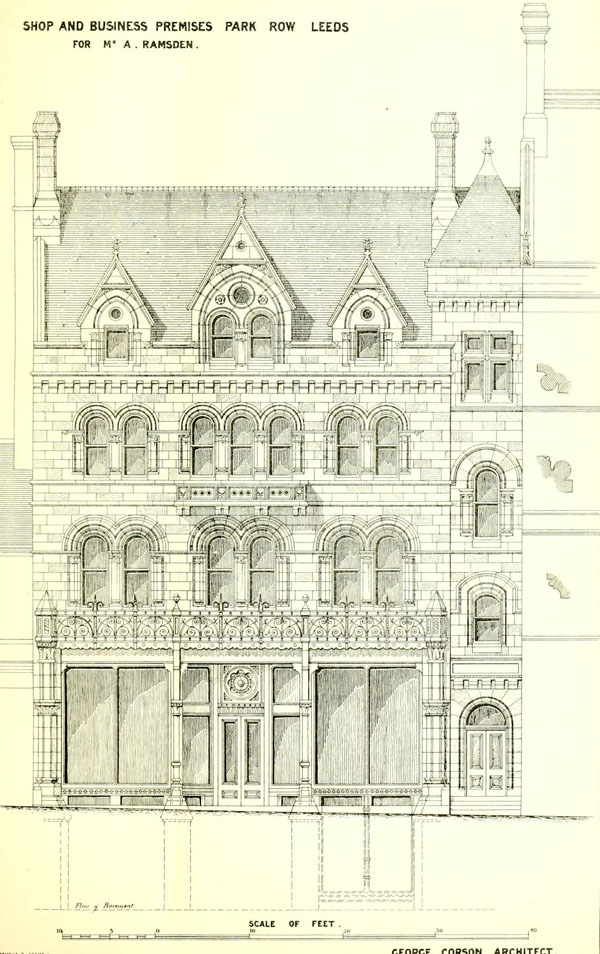 1874 – Commercial Buildings, Park Row, Leeds, Yorkshire