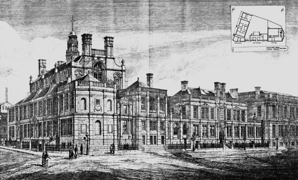 1879 – Firth College, School Board Offices & Central Schools, Sheffield, Yorkshire