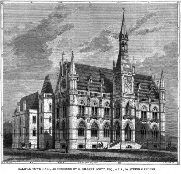 1857 – Design for Halifax Town Hall, Yorkshire