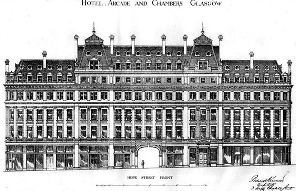 1877 &#8211; Hotel, Arcade &#038; Chambers, Hope Street, Glasgow