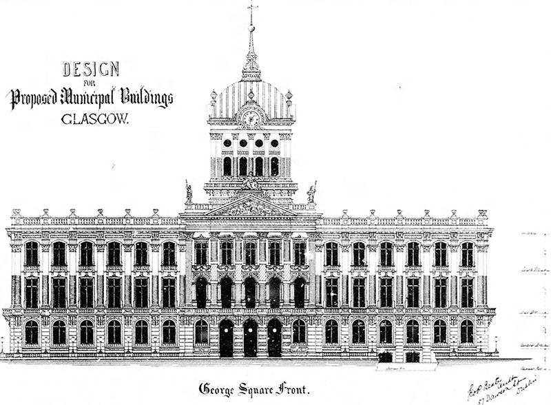 1880 – Design for Municipal Buildings, Glasgow