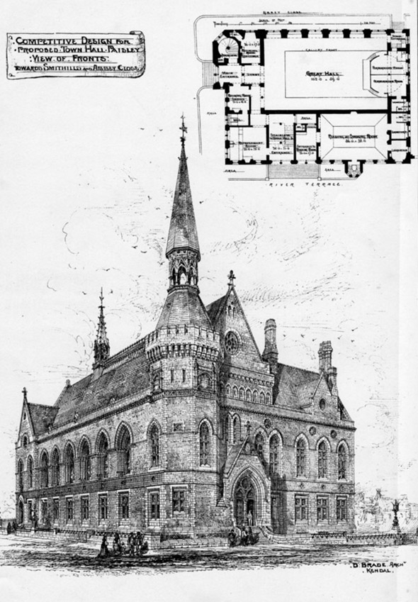 1875 &#8211; Proposed Town Hall, Paisley, Scotland