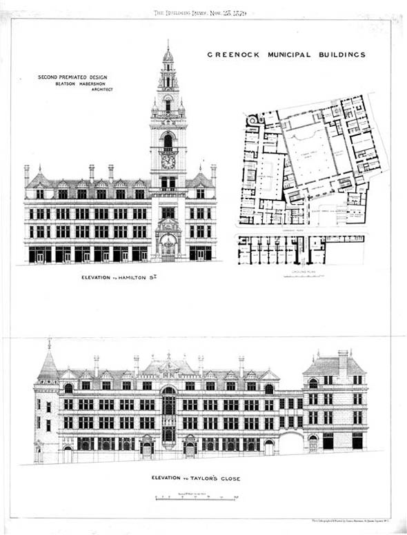 1879 – Unbuilt Design for Greenock Municipal Buildings, Scotland