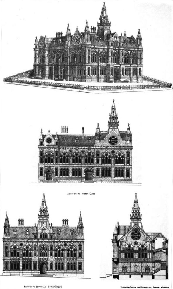 1875 &#8211; Second Premiated Design, Paisley Town Hall