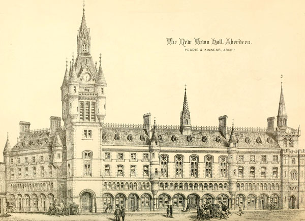 1868 &#8211; Design for new Townhall, Aberdeen