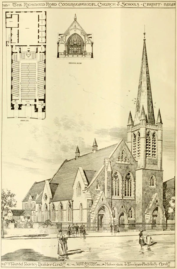 1898 –  The Richmond Road Congregational Church & Schools, Cardiff