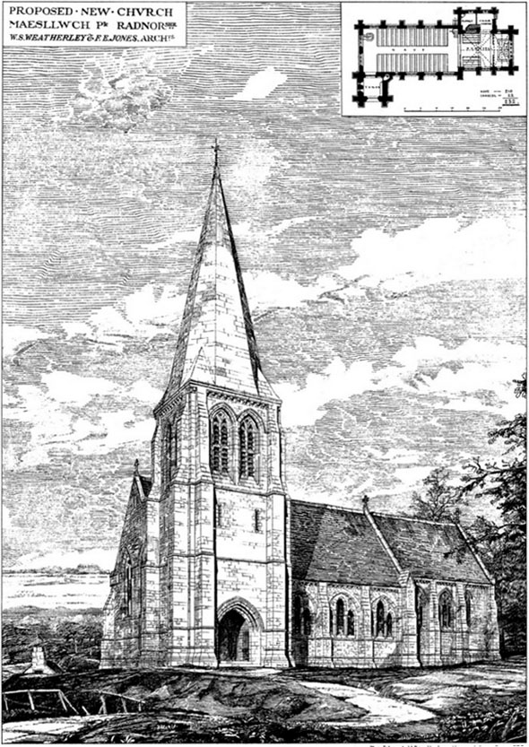 1880 &#8211; Proposed New Church, Maesllwch, Radnor, Wales