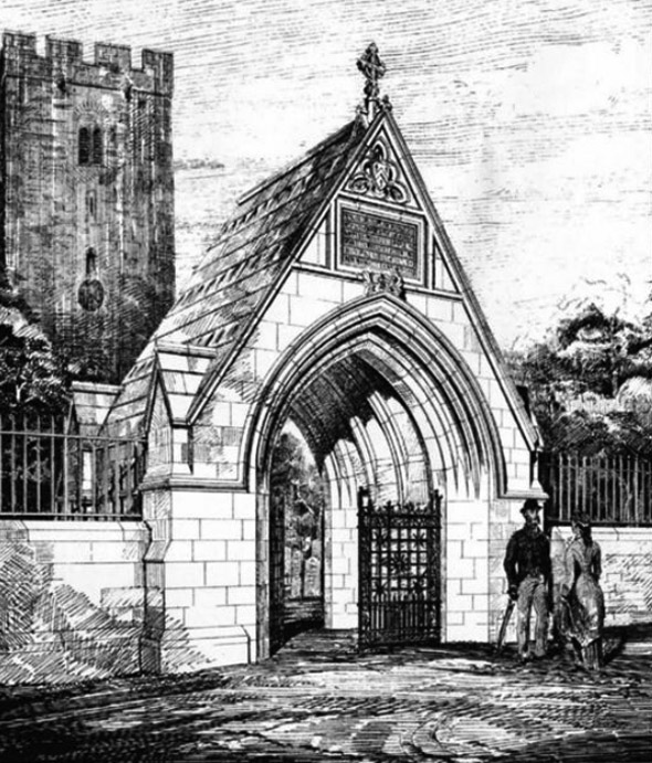 1879 – Lych Gate, St.Peters Church, Carmarthen, Wales