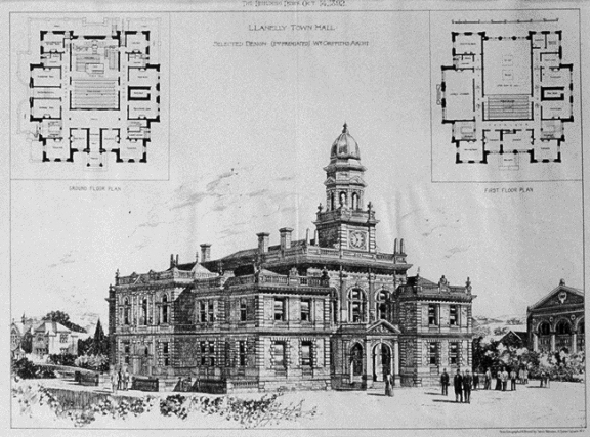 1892 – Selected design for Llanelli Town Hall, Wales