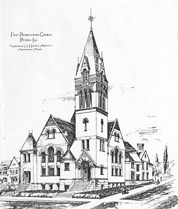 1888 &#8211; Plan for First Presbyterian Church, Peoria, Illinois