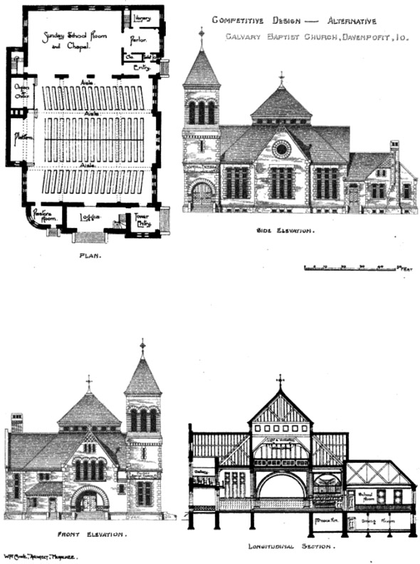 1889 &#8211; Design for Calvary Baptist Church, Davenport, Iowa