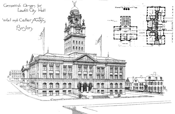 1889 – Design for Lowell City Hall, Massachusetts