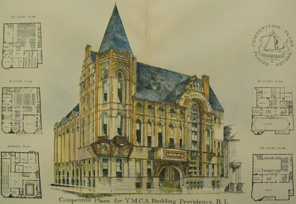 1888 &#8211; Plans for the YMCA Building, Providence, Rhode Island