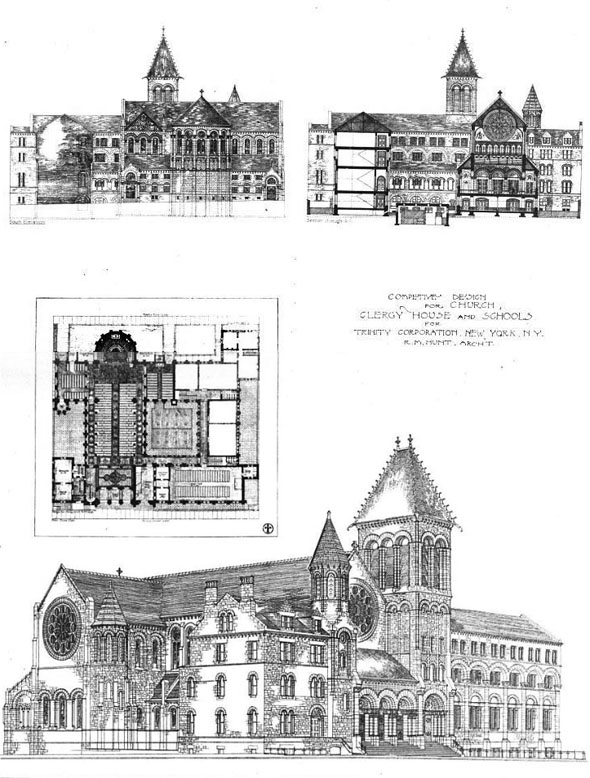 1889 – Design for Church, Clergy House and Schools, New York