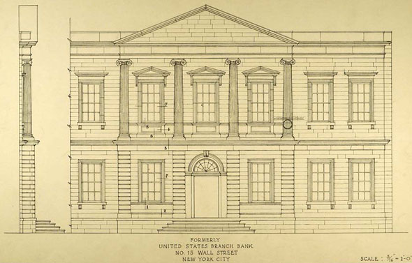 1824 – Bank of the United States, 15 Wall Street, New York