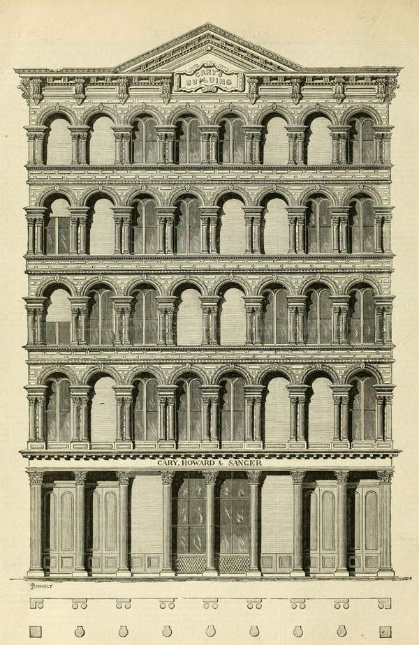 1869 &#8211; Design for cast iron facade, New York